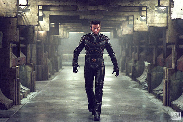 Hugh Jackman in Action on X2: X-Men United wearing leather jacket