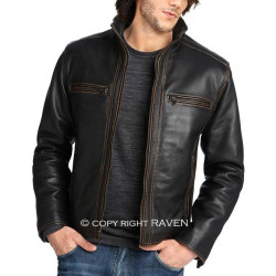 Slim Cut:20 Men's Genuine Leather Stitching Style Jacket
