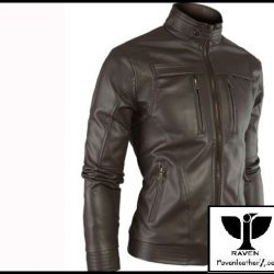 Slim Cut:10 Men's Genuine Leather Black Moto Rider Jacket