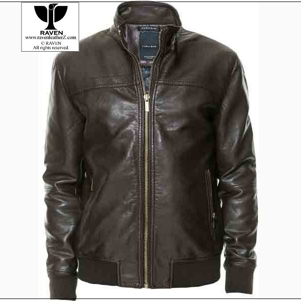 Rw 14 Men S Genuine Leather Black Bomber Jacket Raven