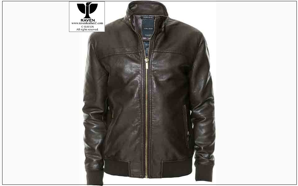 RW:14 Men's Genuine Leather Black Bomber Jacket