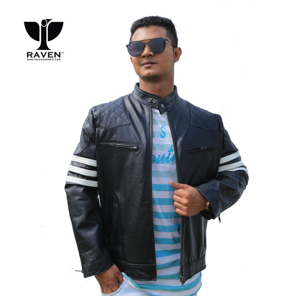 Winter Jacket Dhaka Bangladesh BR-04-White-Band-Motor-Rider-Jacket