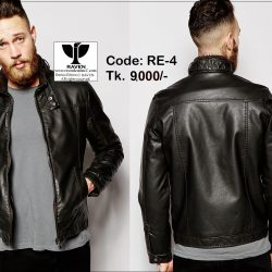 RE04 Men's Slim-Fit Casual Leather Jacket