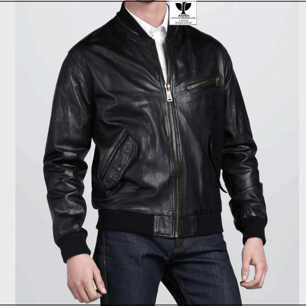 RW:16 Men's Genuine Leather Stylish Black Bomber Jacket