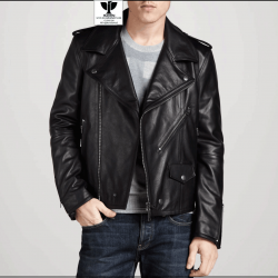 RW:08 Men's Genuine Leather Classic Biker Jacket