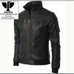 Slim Cut:04 Men's Genuine Leather High Neck Bomber Jacket