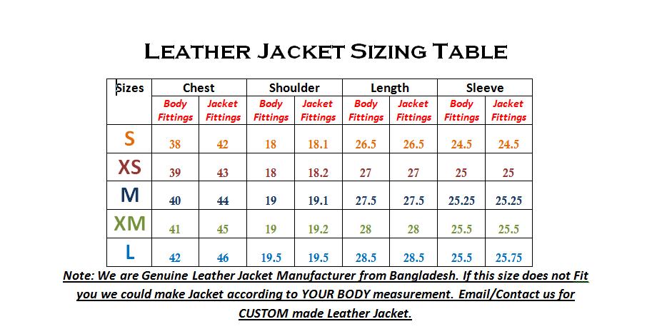 Sizing Table of Leather Jacket from Dhaka Bangladesh