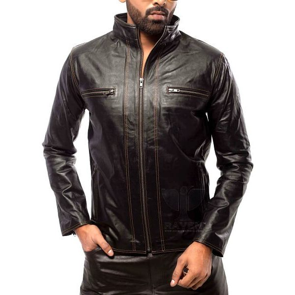 Slim Cut-20 Mens Genuine Leather Stitching Style Jacket