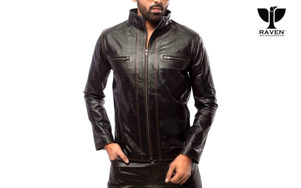 Slim Cut-20 Mens Genuine Leather Stitching Style Jacket
