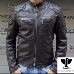 RR:08 Men's Genuine leather Quilting Shoulder Moto Jacket