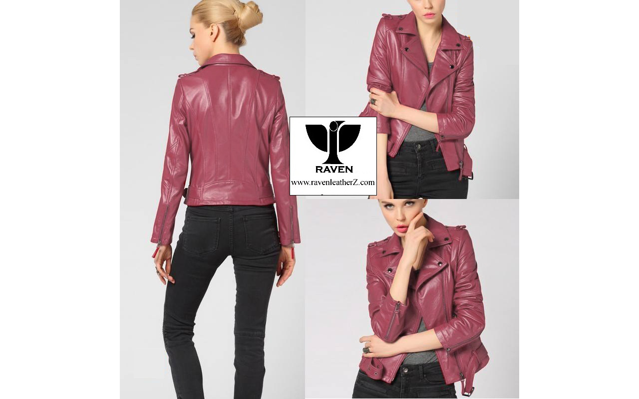 LR:16 Women Genuine Leather Red Blazer Collar Jacket