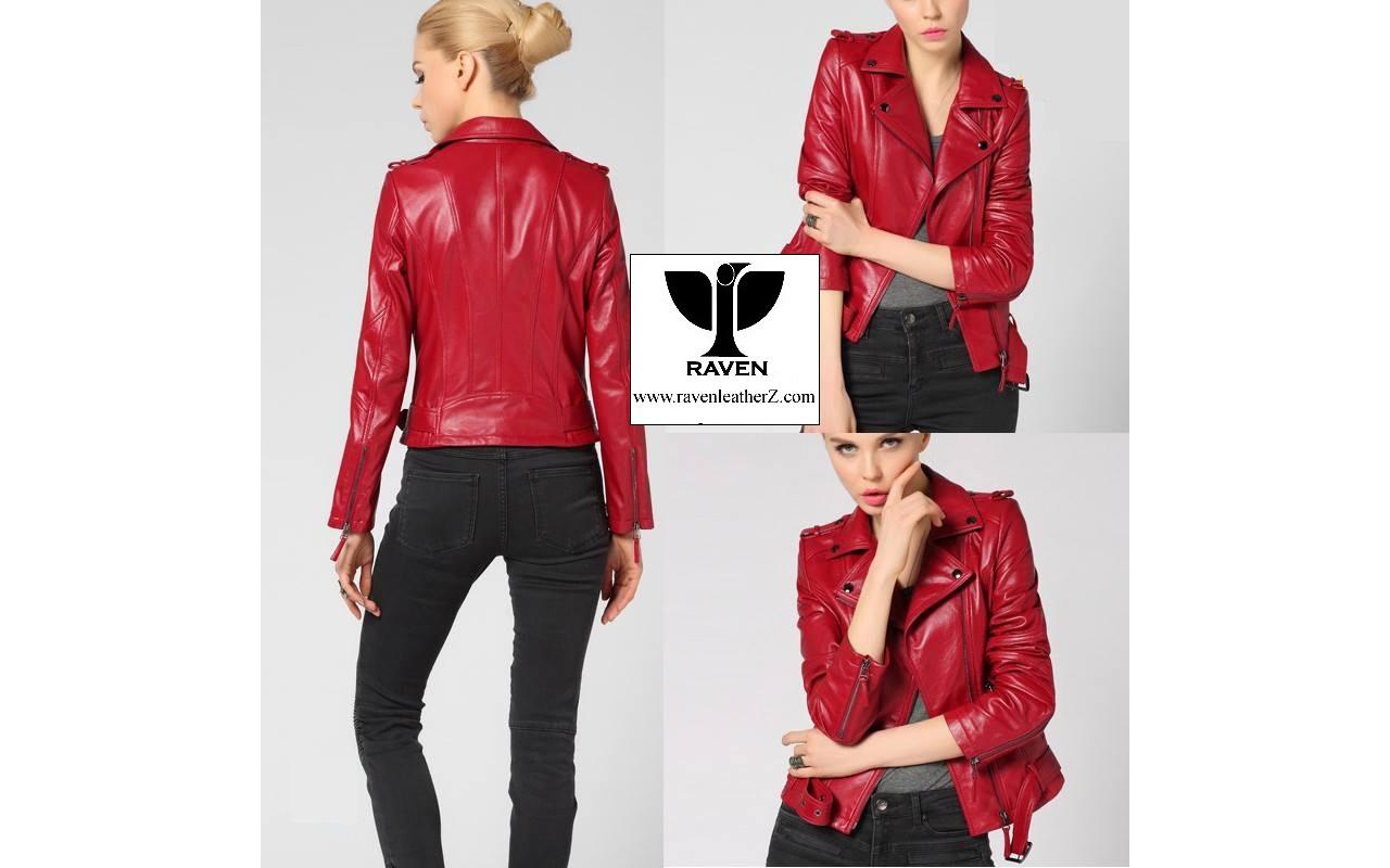 Red Biker Jacket Winter Collection 2017