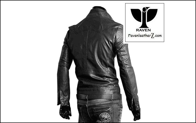 Back side of RAVEN Leather Jacket RC02