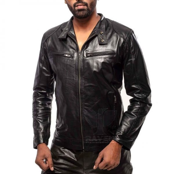 RAVEN RA-20 Mens Genuine Leather Slim Fit Biker Jacket