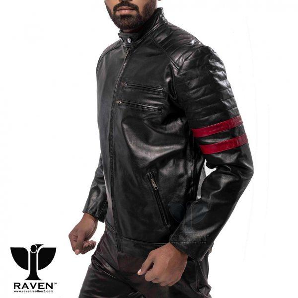 RA-02 Mens Genuine Leather Stylish Motor Rider Jacket Left Front Side