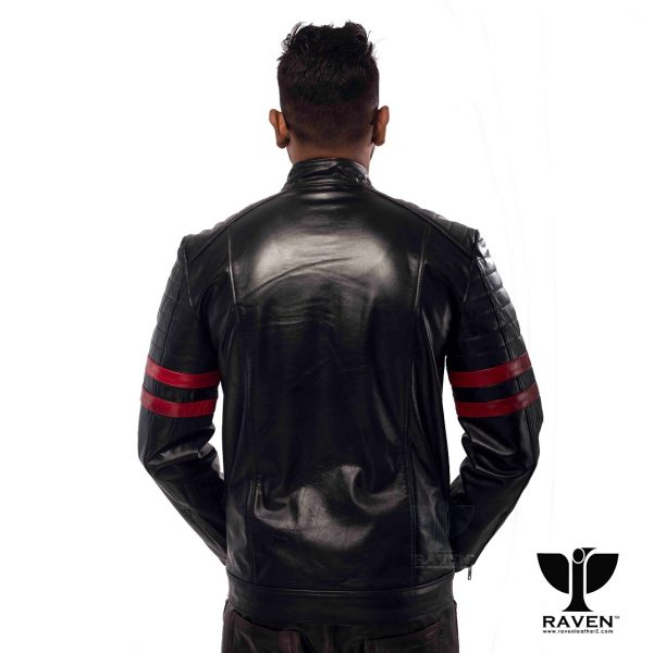 RA-02 Mens Genuine Leather Stylish Motor Rider Jacket Backside