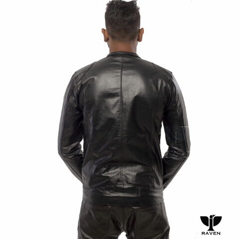 RAVEN RA-20 Men's Genuine Leather Slim Fit Biker Jacket Backside