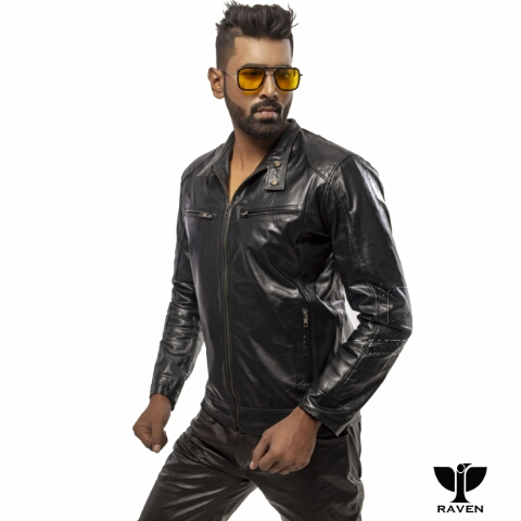 RAVEN RA-20 Men's Genuine Leather Slim Fit Biker Jacket Front side