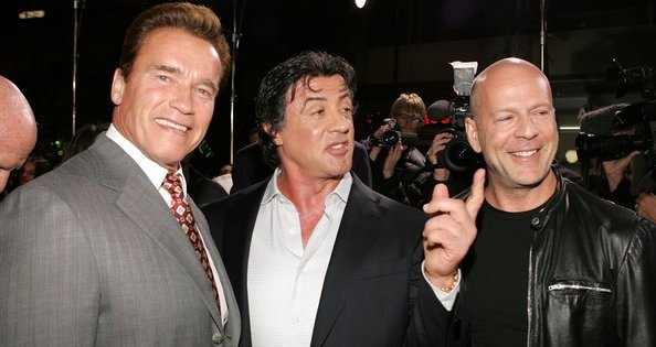 The Expendables team with Bruce