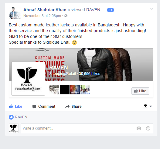 Leather Jacket Customer Review from Dhaka Bangladesh
