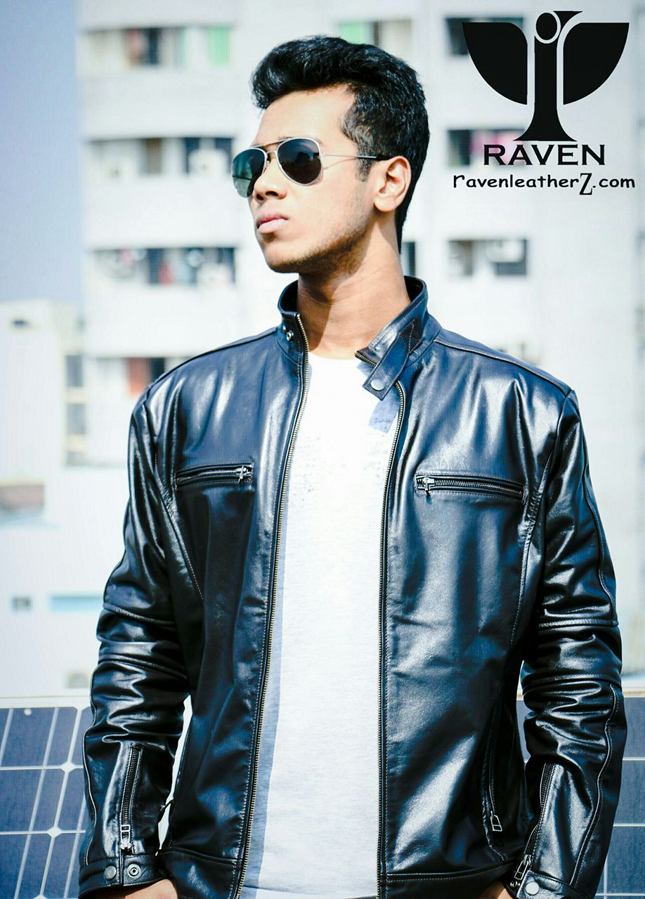 Rs 02 Men S Genuine Leather Classic Racing Jacket Raven