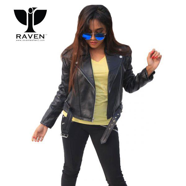 NW-07-Black-Cropped-Ladies-Biker-Jacket-with-Belt-600x600