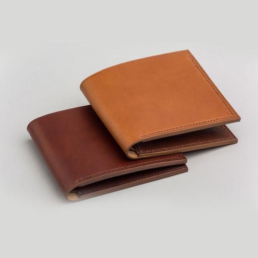 Plain Bi-fold Genuine Leather Money Bag