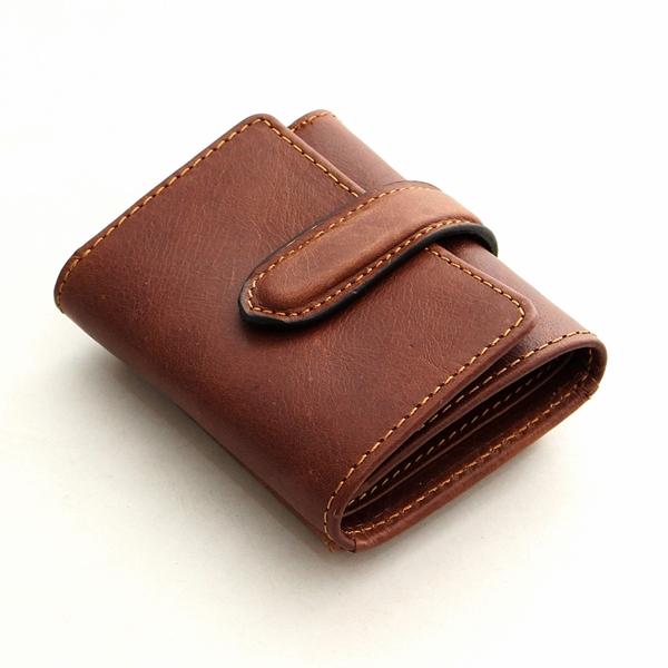 Tri-fold Small Size Genuine Leather Money Bag