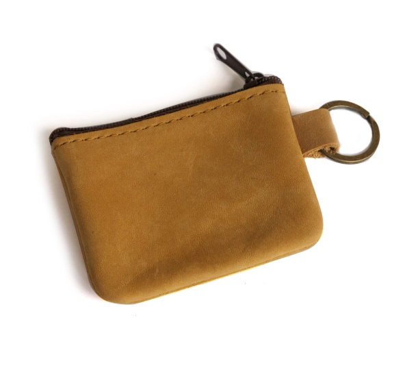 yellowish tan color genuine leather coin purse