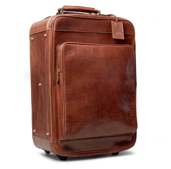 Dark Tan Color Large Size Genuine Leather Trolley Bag