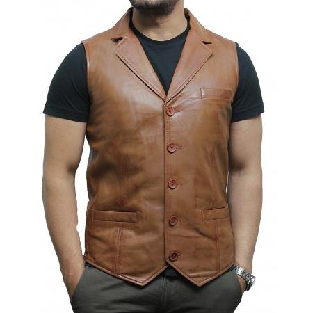 Dark Tan Color Slim Fit Genuine Leather Waist Coat For Men