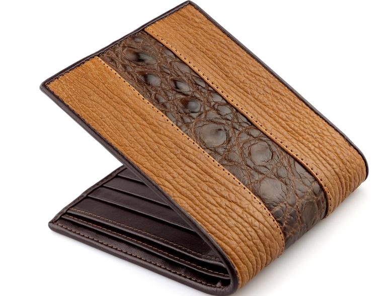 Duel Contrast Genuine Leather Luxury Bi-fold Wallet for Men