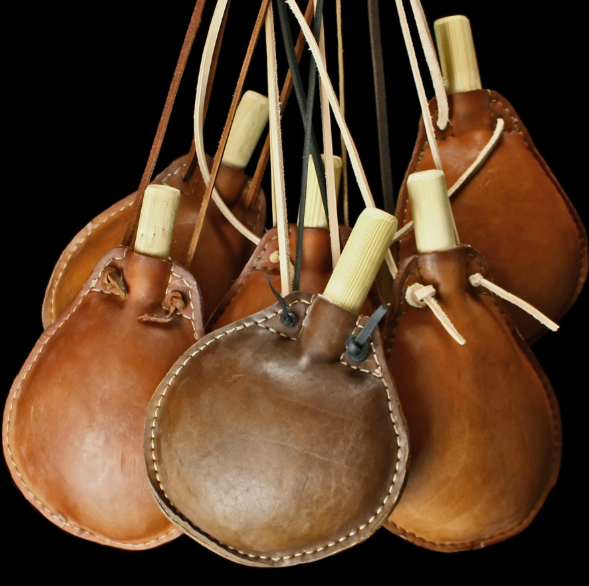 Vintage Brown and Tan Color Genuine leather Water Pots