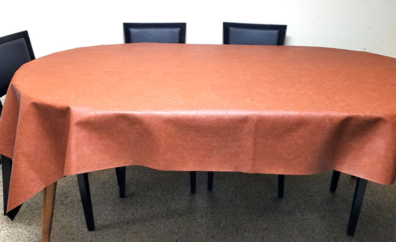 Tan Color Genuine Leather Table Cover