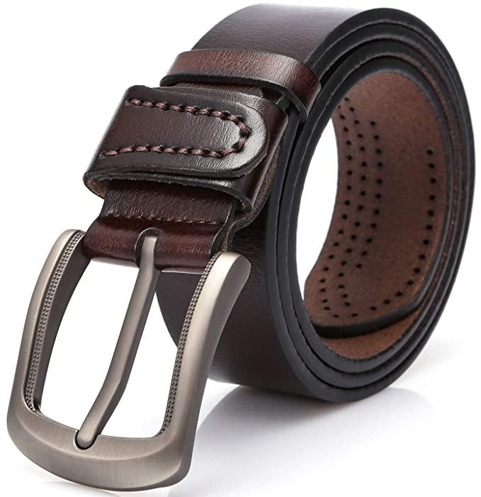 Dark Reddish Brown Color Genuine Leather Belt For Men