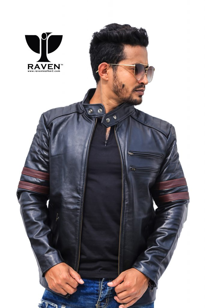 RA-02 Slim Fit Quilted Red Stripe Rider Jacket For Men