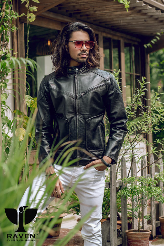 RE-02 Slim Fit Cropped Motor Cycle Jacket for Men
