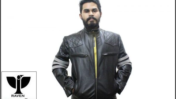 Stylish White Band Motor Rider Jacket