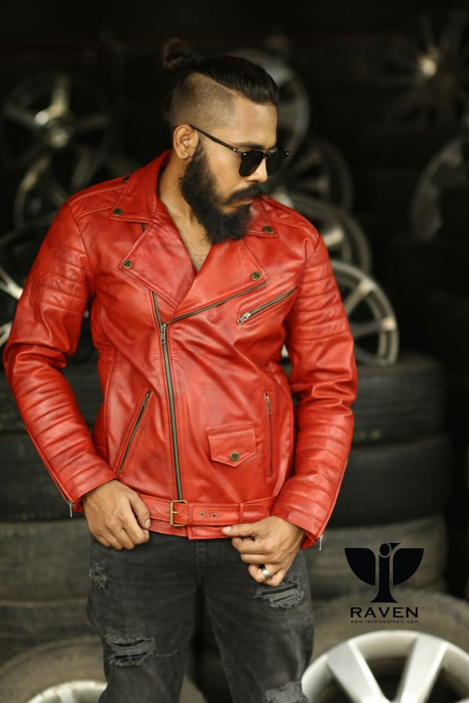 RW-10-(-R-) Cropped Slim Fit Quilted Biker Jacket For Men