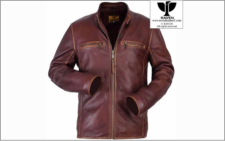 Wine Color Classic Style Leather Jacket Winter Collection 2017