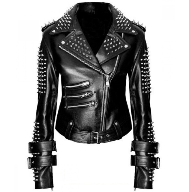 handmade-women-black-punk-silver-spiked-studded-leather-biker-jacket