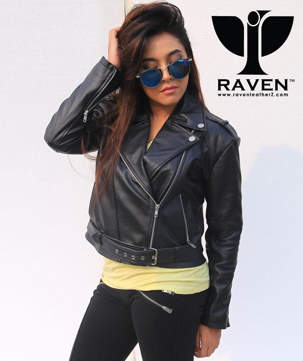 Ladies-Black-Cropped-Biker-Jacket-with-Belt-Dhaka-BD