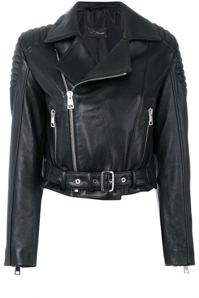 Crop half Women leather jacket by RAVEN
