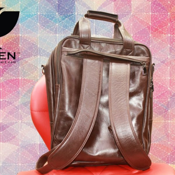 Back View of Brown Unisex Leather Shoulder Bag for Men and Women