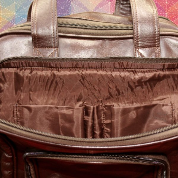 Front Inside view of Brown Unisex Leather Shoulder Bag for Men and Women