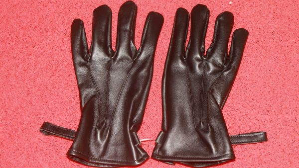 Men Black Leather Full Gloves