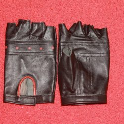 RHG:01 Men Black Leather Half Gloves with Red Lining