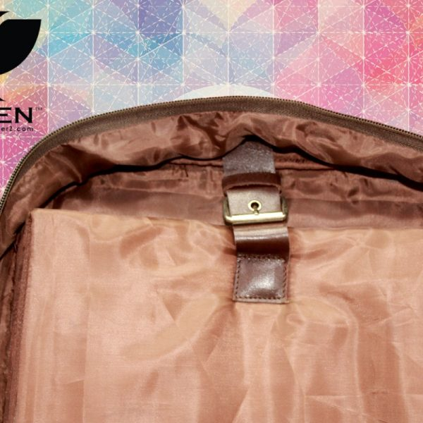 Inner View of Brown Unisex Leather Shoulder Bag for Men and Women