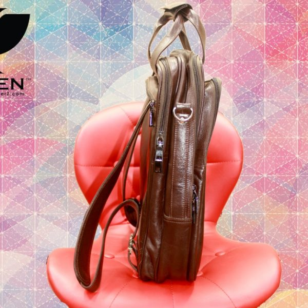 Side View of Brown Unisex Leather Shoulder Bag for Men and Women