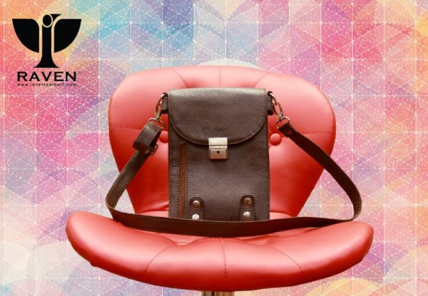 Front view of Brown Unisex Leather Tool Bag for Men and Women
